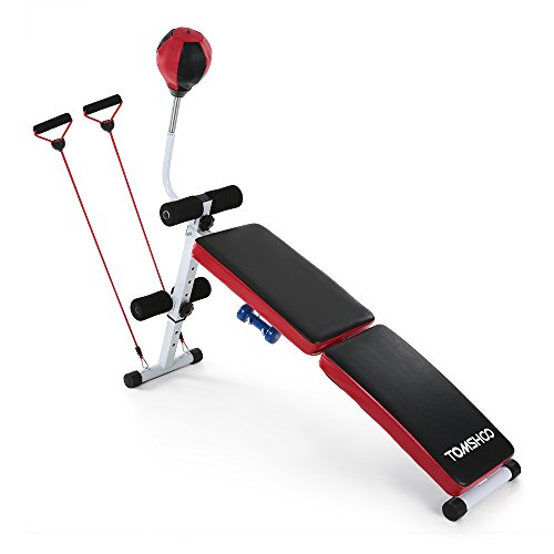 TOMSHOO Adjustable Foldable Gym Weight Bench Decline AB B...