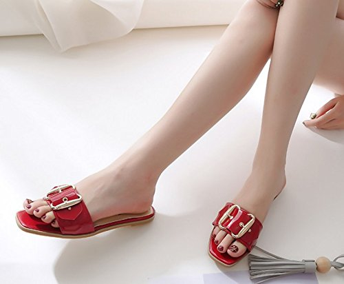 pies flat Chanclas los Mujer SCLOTHS ancho rosso verano Waichuan Il pies wFqAHIHc