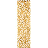 Safavieh Dip Dye Collection DDY527M Beige and Gold Runner, 23 x 12