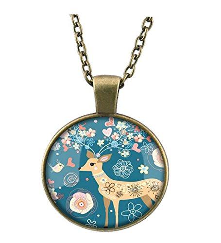 [Darkey Wang Women's Fashion Creative Retro Christmas Elk Gem Necklace, The Best Christmas Gift(1#)] (Audrey Hepburn Costume Singapore)