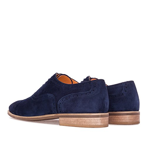 Andres Machado.5969.oxford Shoes In Leather.made In Spain.mens Large Sizes: Us M13 A M16 Navy Split Leather