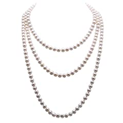 Description *Classic white pearl long necklace made with 7-8mm flatly round freshwater pearls. The pearls have symmetric shape and good lustre. *A few blemishes can be seen on the skin, but it does not affect the beauty of the necklace. Shipp...