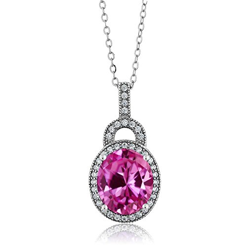 6.48 Ct Oval Pink Created Sapphire 925 Sterling Silver Pendant with 18