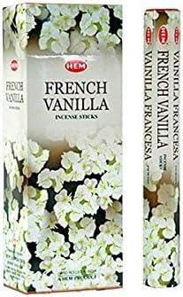 Varitas de Incienso de Vainilla Francesa Marca HEM. Caja con 6 paquetes y un total de 120 Varitas de Incienso