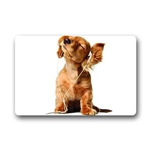 """Custom Cute Dog Listen To Music Indoor/outdoor Floor Mat Doormat 23.6""""(L) x 15.7""""(W)"""