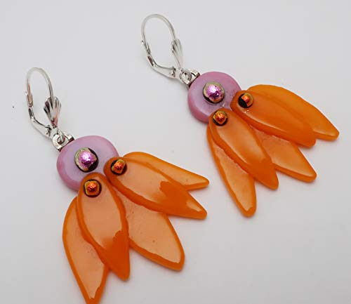Large Orange pink Coneflower texture fused dichroic glass earrings Sterling silver lever-backs