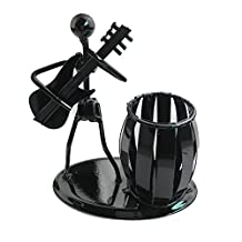 Recycled Metal Art Hand-made Pen Holder with a Guitarist Figure Playing Music - Decorative Desk Organizer Office Space Supply Multipurpose Pen Pencil Holder