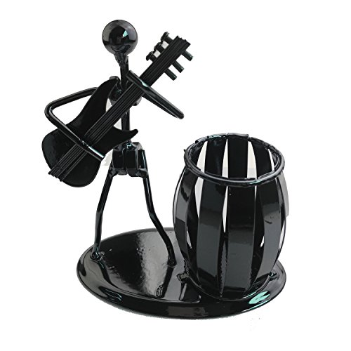 Recycled Metal Art Hand-made Pen Holder with a Guitarist Figure Playing Music - Decorative Desk Organizer Office Space Supply Multipurpose Pen Pencil Holder (Playing Stick Figure)