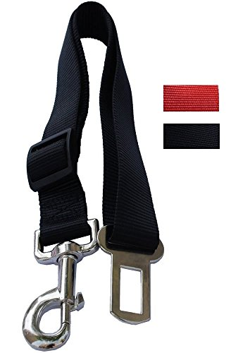 Lanyarco Black Pet Dog Adjustable Car Automotive Seat Safety Belt Vehicle Seatbelt Leash Lead Travel for Small/Medium/Large Dogs,Cats