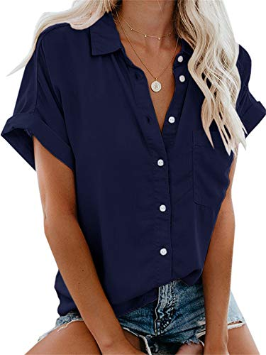 Beautife Womens Short Sleeve Shirts V Neck Collared Button Down Shirt Tops with Pockets Navy Blue (Navy Blue Short Sleeve Button Down Shirt)