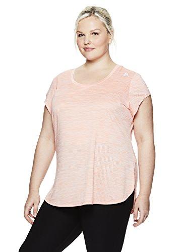 Reebok Women's Legend Performance Short Sleeve T-Shirt with Polyspan Fabric,Desert Flower Heather,1X