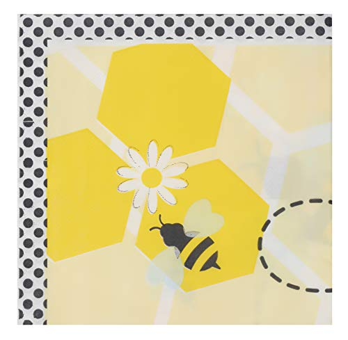 Cocktail Napkins - 150-Pack Luncheon Napkins, Disposable Paper Napkins Kids Birthday Party Supplies, 2-Ply, Bumble Bee Design, Unfolded 13 x 13 Inches, Folded 6.5 x 6.5 Inches (Bumble Bee Plates)