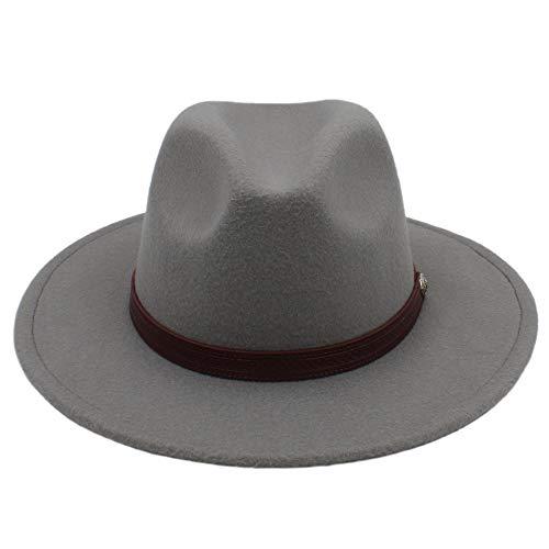 Sombrero - Otoño Invierno Sombreros para el sol Mujeres Hombres Sombrero de Fedora  Sombrero clásico Ancho de fieltro Floppy Cloche Cap Chapeau imitación ... 33ee98838fd