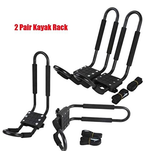 2 Pairs Kayak Rack Car Roof Board Paddle Ski Surf Storage Snowboard Roof Top Mounted J-Bar Rack (Ski Holder For Car)