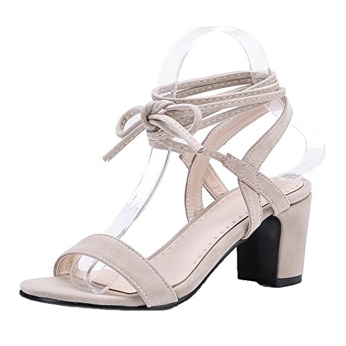 VogueZone009 Women Imitated Suede Lace-Up Open-Toe Kitten-Heels Solid Sandals, CCALP014814 Beige