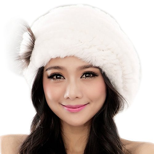 Rex-Rabbit Fur Beret Hat Winter Women's Cap Furtalk Original (White) (Rabbit Rex Hat)