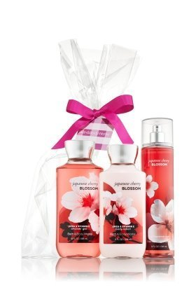 Bath & Body Works Japanese Cherry Blossom Gift Set - All New Daily Trio (Full-Sizes) (Bath Gift Body Set)