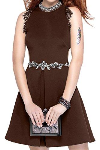 Promkleid Abendkleid Satin Sweetheart Partykleid Festkleid Steine Schokolade Guertel Ivydressing Damen Rundkragen zqSw07