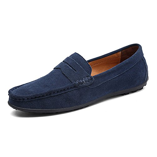 VILOCY Men's Casual Suede Slip On Driving Moccasins Penny Loafers Flat Boat Shoes (Navy Suede Moccasins)