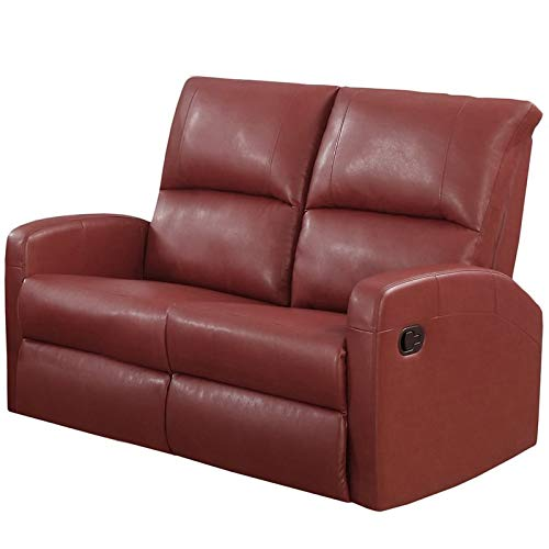 Monarch Specialties Reclining Loveseat in Red Bonded Leather