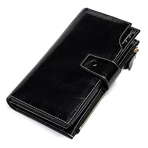 BOSTANTEN Womens Wallet Genuine Leather Wallets Large Capacity Cash Cluth Purses with Zipper Pocket Black