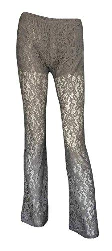 Baifern Women's Full Lace Solid Long Flare Pants Plus Size