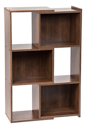 Glass Walnut Bookcase (IRIS 30-Inch Wide Expandable Bookcase, Dark Brown)