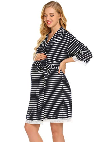 Skylin Womens V-Neck Long Sleeve Nightgown Soft Maternity Dress (Navy Blue, -