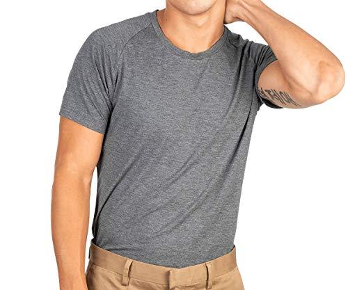 Mr. Davis Men's Bamboo Viscose Tailored Cut Crew Neck Undershirt, Grey, Medium