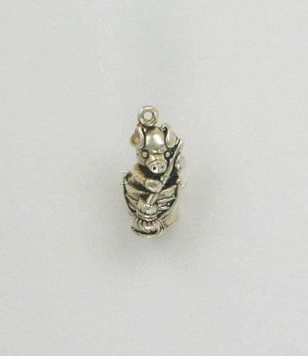- Sterling Silver 3-D Pig w/a Mop Charm - Jewelry Accessories Key Chain Bracelet Necklace Pendants
