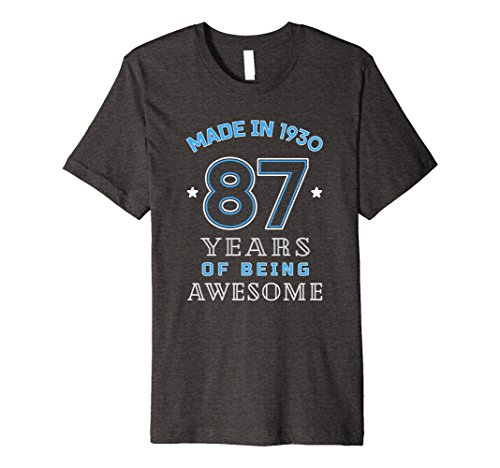 Mens Made In 1930 Awesome Cute T-Shirt Funny 87th Birthday Gift 2XL Dark (Mens 1930's Costumes)