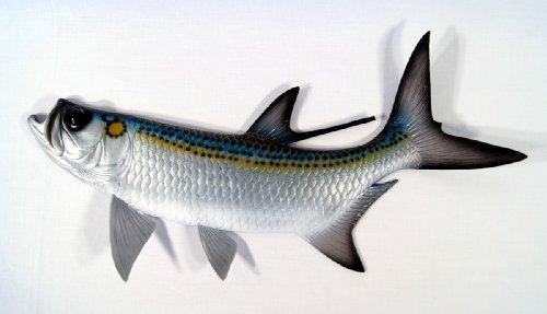 Hand Painted Jumbo Tarpon Fish Ocean Restaurant Wall Mount Decor Plaque 48