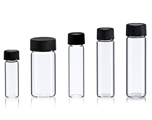 Magnakoys Medium Empty Clear Vial Bottle Assortment w/Caps 1 dram to 5 Dram for dry goods, essential oils, perfumes, and other liquids ()