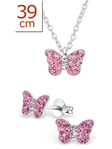 925 Sterling Silver Hypoallergenic Set of 2 Pink Crystal Butterfly Necklace & Stud Earrings for Girls and Womens (Nickel Free) - Set Silver Necklace Sterling Earrings