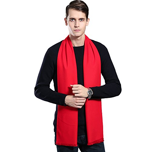Mens Winter Cashmere Scarf - Ohayomi Fashion Formal Soft Scarves for Men(Red)