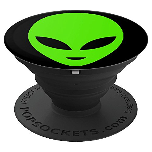 - Extraterrestrial - Green Alien Face Silhouette Fun Design - PopSockets Grip and Stand for Phones and Tablets