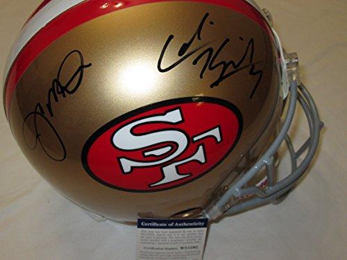 Montana & Colin Kaepernick dual signed San Francisco 49ers autographed full size football helmet - Montana player hologram & PSA/DNA COA ()