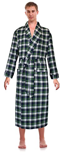 Robes King Classical Sleepwear Men's 100% Cotton Flannel Shawl Collar Robe, Size Large Extra Large Green
