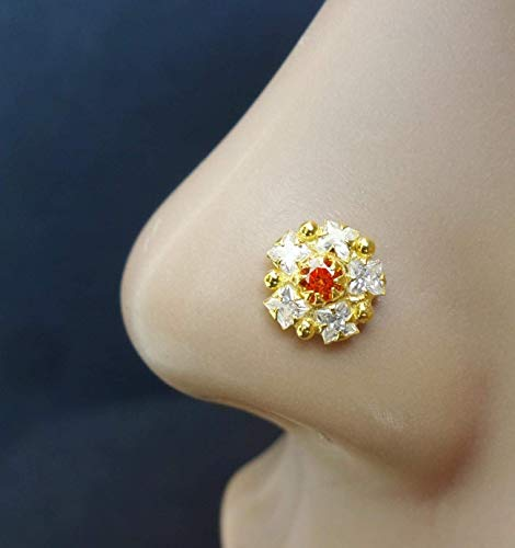 - Nose Pin,White Gold Nose Stud,Citrine Nose Piercing,Bollywood Nose Screw,Gold Nose Piercing,Crock Screw Nose Stud,Nose Stud,Flower Nose Stud,CZ Simulated Diamond Nose Stud,Indian Nose Stud(TEJ618)