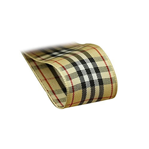 XUKE 13Colors,1 Wide,5.5Yd Polyester Plaid Stripes Ribbon Khaki Black Stripes Clothing Accessories DIY Handmade Clothing Hair Bow Materials