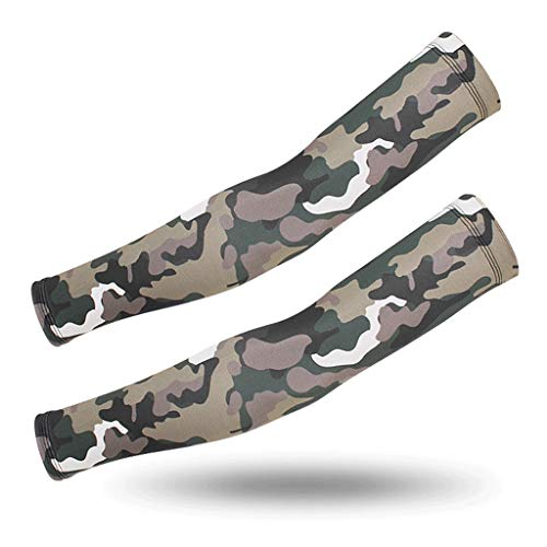 Qinmo mmer Cool Anti-UV Sleeves Men's UV Camouflage ice Sleeve arm Guards Women (Color : Natural, Size : XL)
