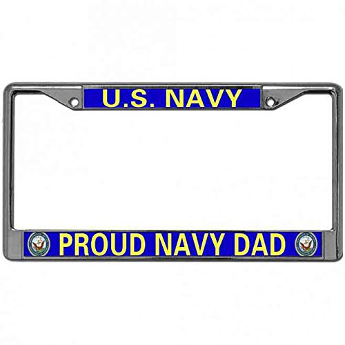 Meeingbing Proud US Navy Dad License Plate Frame Tag Stainless US License Plate Frame Pack License Plate Frame with 2 Screws and Caps for US Canada Cars