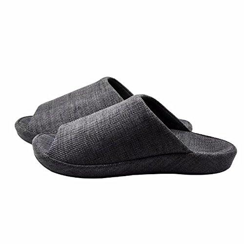 Qplus Q-plus Para Hombre Y Para Mujer Arch Support Zapatillas De Casa De Lino Acolchado Y Czoy Shoe Black