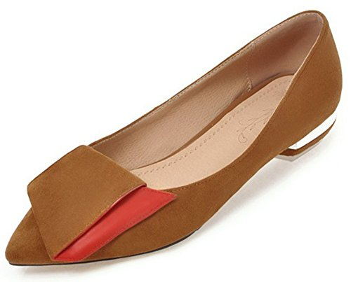 IDIFU Women's Comfy Block Low Heeled Faux Suede Pointy Toe Slip On Low Top Pumps Shoes (Camel, 12 B(M) US) -