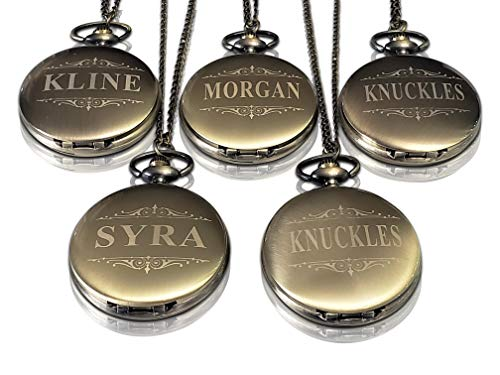Groomsmen Pocket Watch Set of 8, Chain, Box and Engraving Included, Comes in 4 Colors, Sold as a Set of 8 Pocket Watches (Gold Vintage)