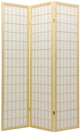 Oriental Furniture 6 ft. Tall Window Pane Shoji Screen – Natural – 6 Panels