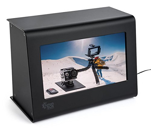 Displays2go, LCD Advertising Show box, Acrylic and Tempered Glass Construction – Black Finish (SBX101) by Displays2go