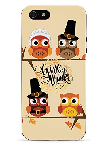 Inspired Cases - 3D Textured iPhone 5/5s/SE Case - Rubber Bumper Cover - Protective Phone Case for Apple iPhone 5/5s/SE - Give Thanks - Thanksgiving Owls - Black