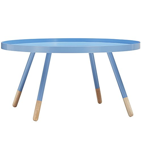 Mid-Century Modern Paint-dipped Round Shaped Spindle Wooden Accent Tray Top Cocktail Coffee Table with Metal Legs - Includes Modhaus Living Pen (Light Blue)