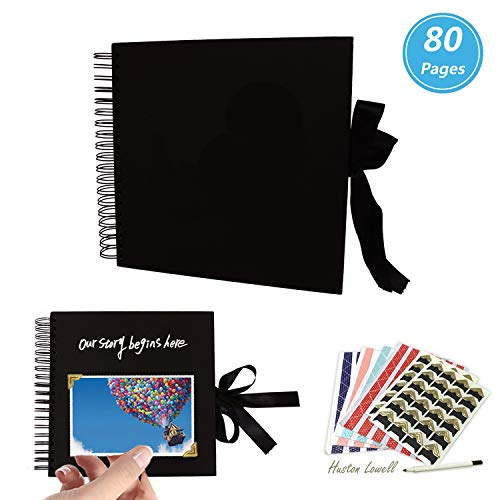 Huston Lowell Scrapbook Photo Album 10x10 inch,Black Guest Book, Wedding Guest Book, DIY Anniversary Travel Memory Scrapbooking,80 Pages Craft Paper, 6 Sheets Photo Corners+Marker pen by Huston Lowell